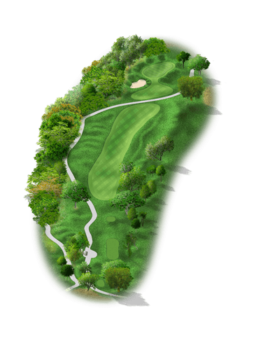 Rendering of hole #1 on the Creeks Course at Hyatt Hill Country Golf Club