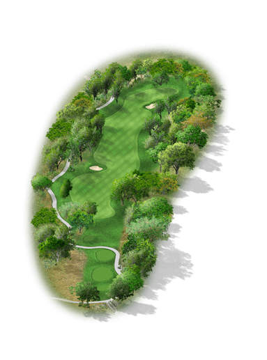Rendering of hole #2 on the Creeks Course at Hyatt Hill Country Golf Club