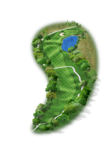 Rendering of hole #4 on the Creeks Course at Hyatt Hill Country Golf Club