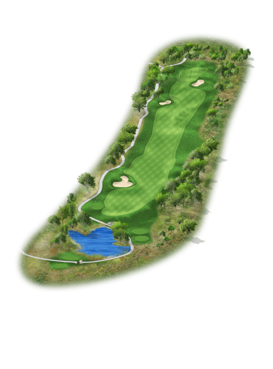 Rendering of hole #5 on the Creeks Course at Hyatt Hill Country Golf Club