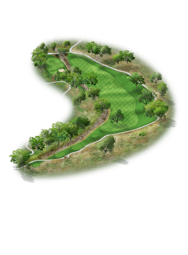 Rendering of hole #7 on the Creeks Course at Hyatt Hill Country Golf Club