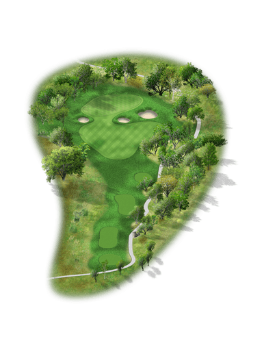 Rendering of hole #8 on the Creeks Course at Hyatt Hill Country Golf Club