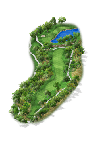Rendering of hole #9 on the Creeks Course at Hyatt Hill Country Golf Club